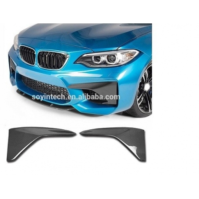 For BMW F87 M2 2016 2017 2018 Carbon Fiber Car Front Bumper Upper Splitters Lip Air Vent Fender Trim